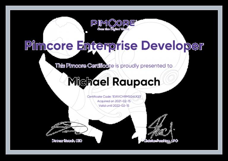 Michael Raupach - Pimcore Enterprise Zertifikat