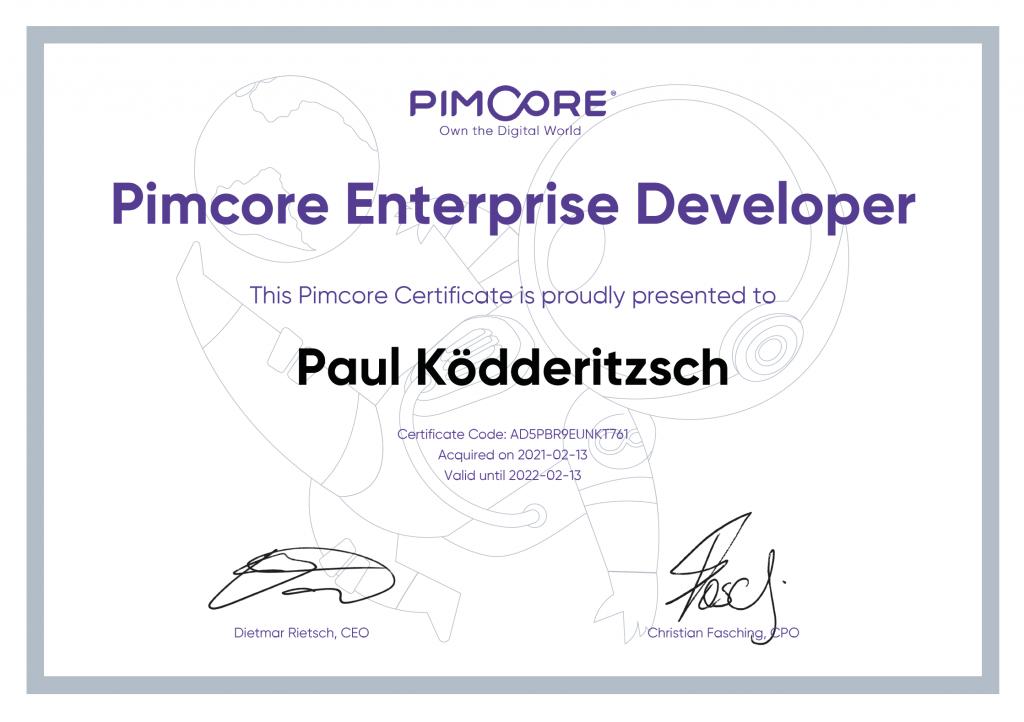 Paul Koedderitzsch Pimcore Enterprice Developer Zertifikat
